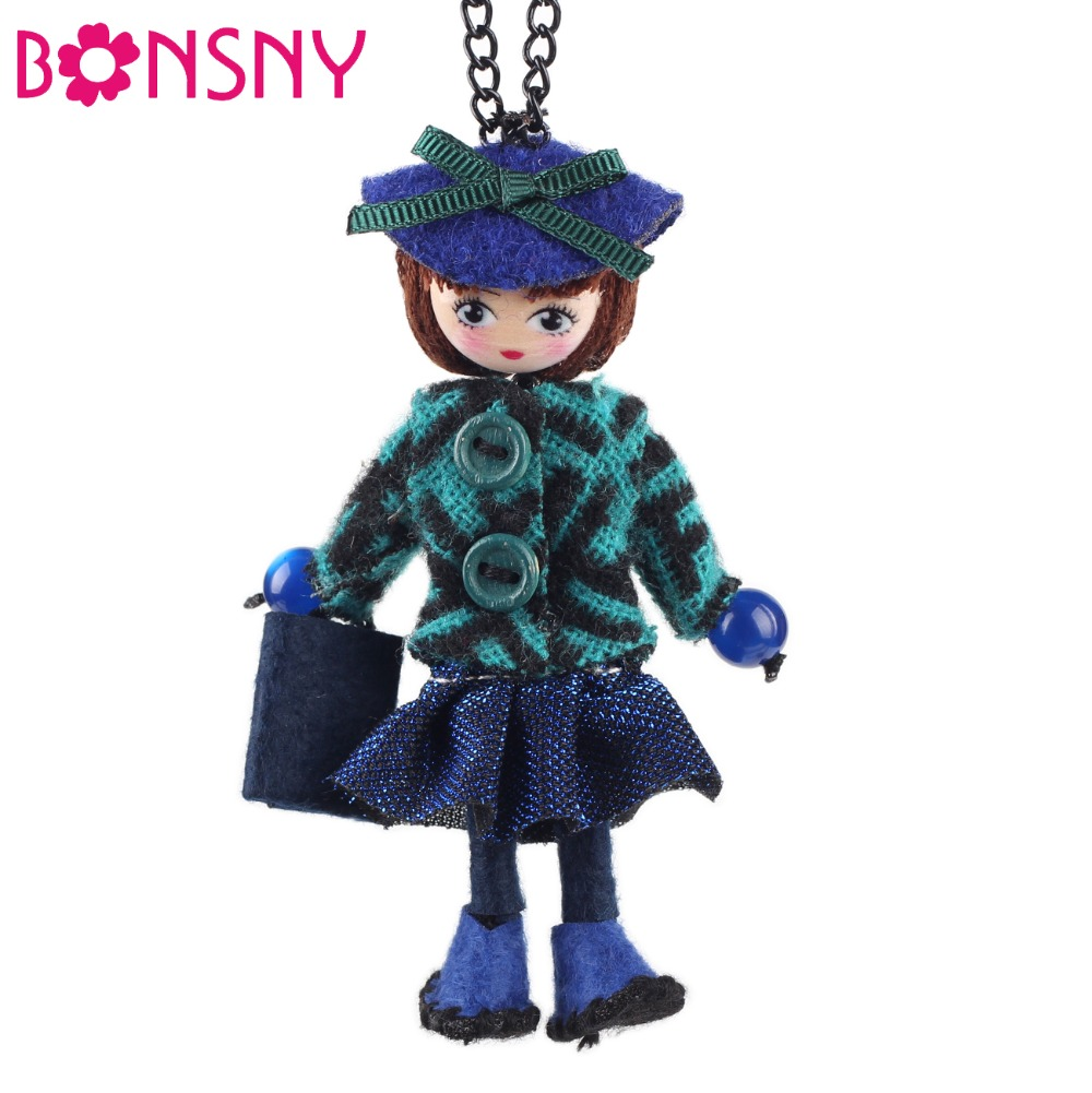 Bonsny Handmade Doll Necklace French Cloth Long Pendant 2016 New Spring Trendy Jewelry for Women Girl Charm Accessories
