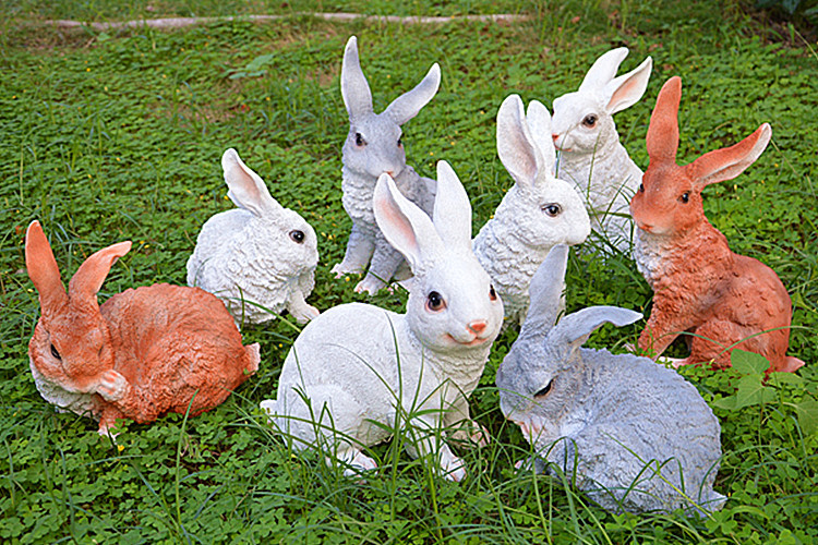 Resin Sculptures Ornaments Rabbits Sculpture Animal For Garden Artificial  Crafts Bunny Decor White Brown Gray Yellow Color In Figurines U0026 Miniatures  From ...