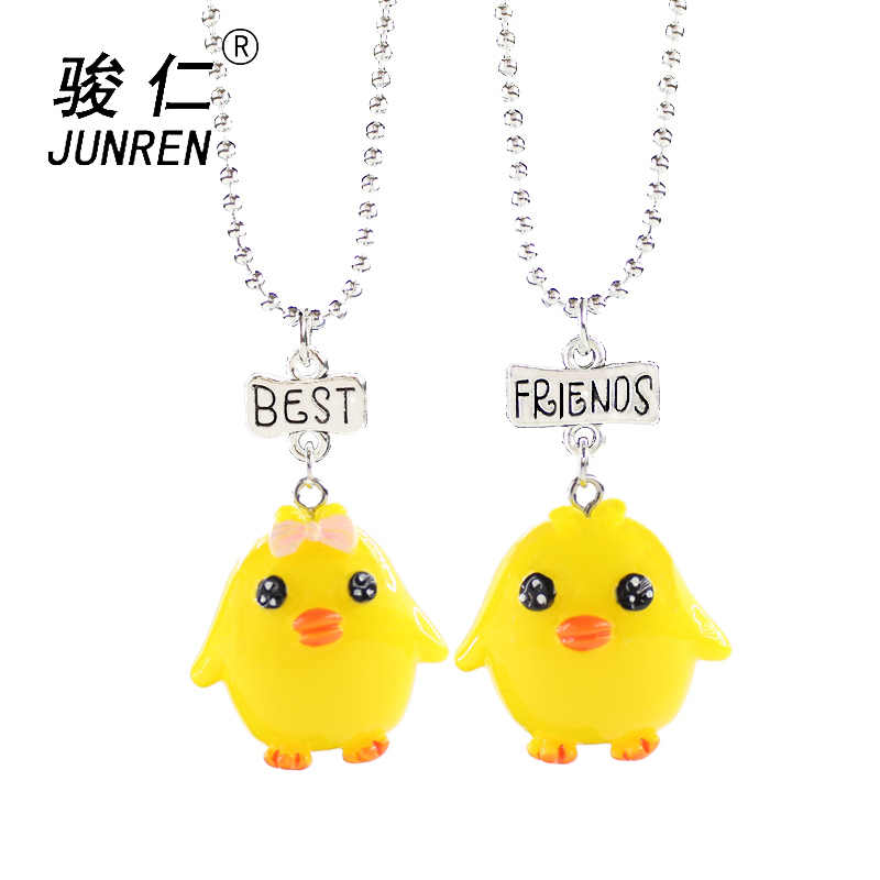 2 pcs/set Children Collar Cute Yellow chick Pendant Necklace For kids Best Gift For Friends Necklaces Jewelry