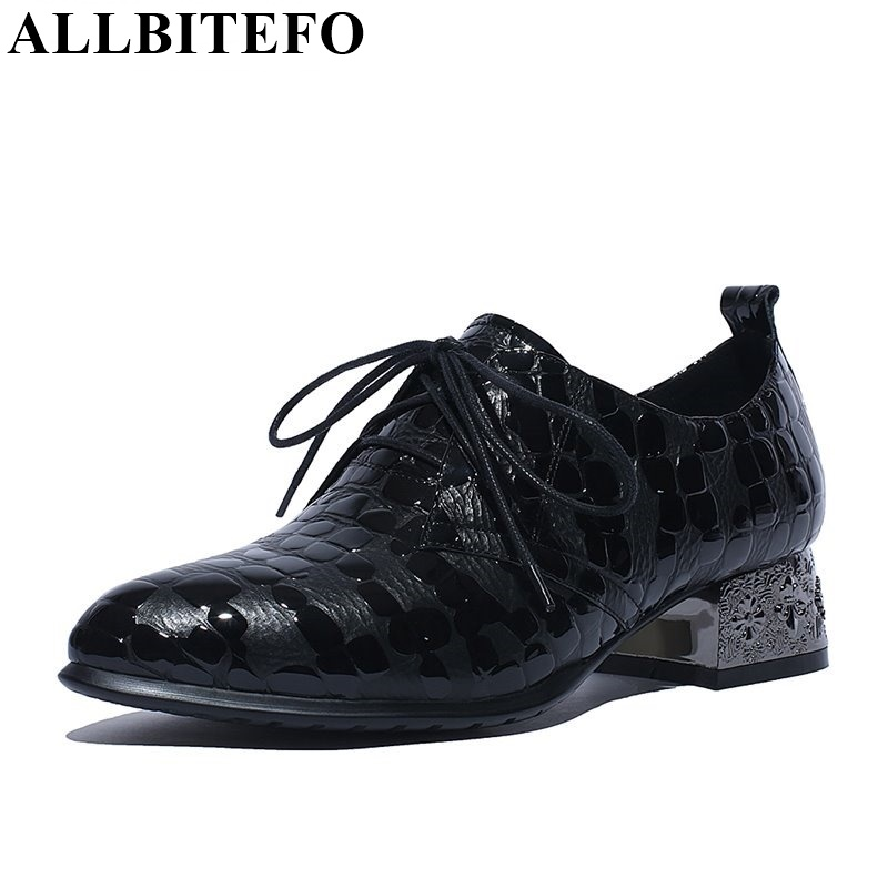 ALLBITEFO Fashion heel pointed toe lace up genuine leather platform women pumps spring High quality casual Retro shoes woman plus size 33 42 pointed toe genuine leather buckle mixed colors fashion casual high heel shoes platform high quality women pumps
