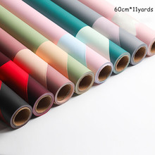 60cm*11yards/roll Double-sided Flower Wrapping Paper Two-color Waterproof Bouquet Wrapping Paper Gift Wedding Layout Packaging цена