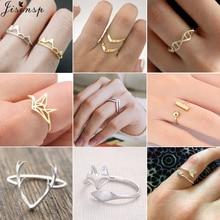 Jisensp очаровательные оленьи рога лиса животное Открытое кольцо для женщин обручальные кольца регулируемые снежные горы кастет Ювелирное кольцо на палец