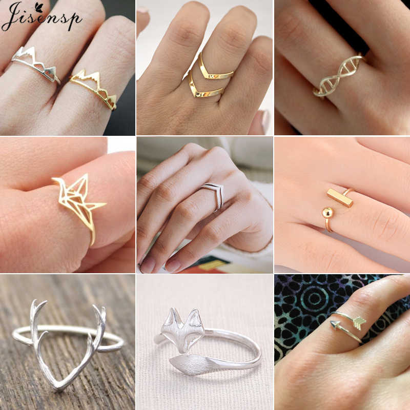 Jisensp Charms Deer Antler Fox Animal Open Ring for Women Wedding Rings Adjustable Snow Mountain Knuckle Finger Jewelry Ring