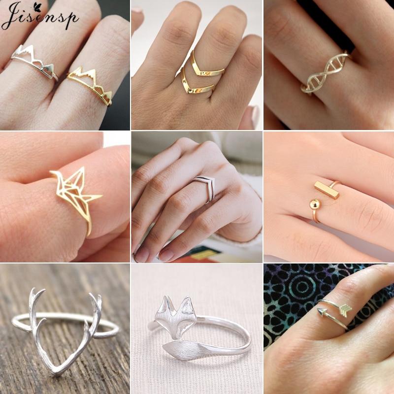 Jisensp Charms Deer Antler Fox Animal Open Ring for Women Wedding Rings Adjustable Snow Mountain Knuckle Finger Jewelry