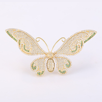 New Fashion Jewelry Large Zircon Butterfly Brooches Female Diy Copper Micro Pave Animal Women Brooch Pins Bijoux Accessories