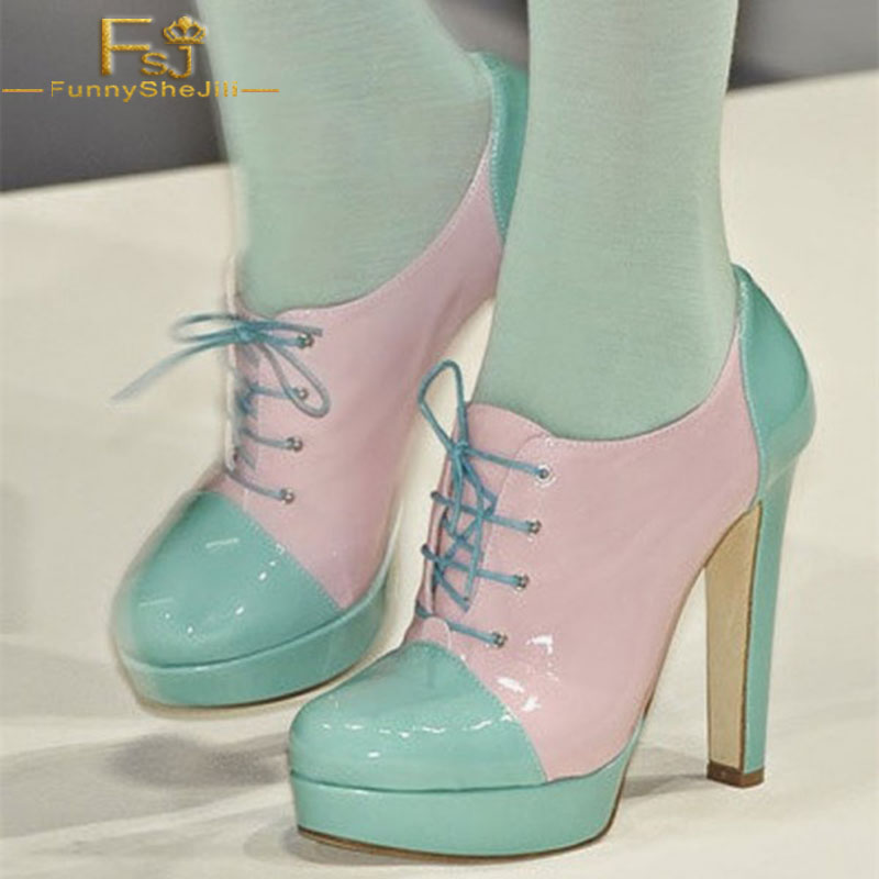 FSJ Women Shoes Ladies Pumps 2018 Spring Autumn Pink And Turquoise Patent Leather Chunky Heel Platform Plus Size Shoes11 12 13