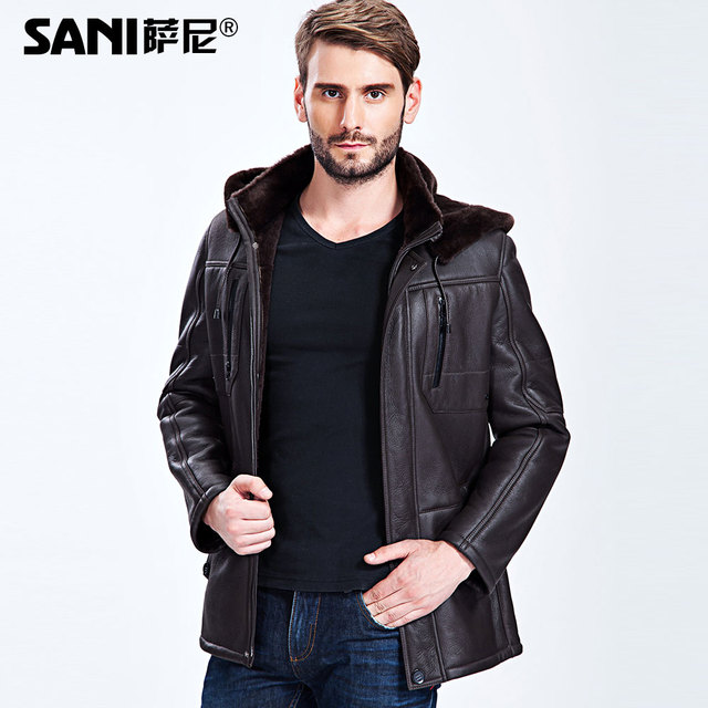 S-3XL!Autumn And Winter Male Sheepskin Wool Male Genuine Leather Hooded Male Fur Leather Overcoat Fur Coat
