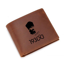 Brand Men's Leather Wallets Vintage Slim Short Purses RFID Protection Zipper Pouch Money Purses Engraved Picture Kemal Wallets(China)