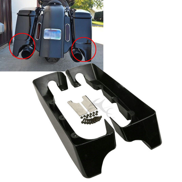 """Motorcycle 4"""" Double Cut Hard Saddlebag Extension For Harley Touring Road King Road Ultra Street Glide Electra Glide 1994 2013"""