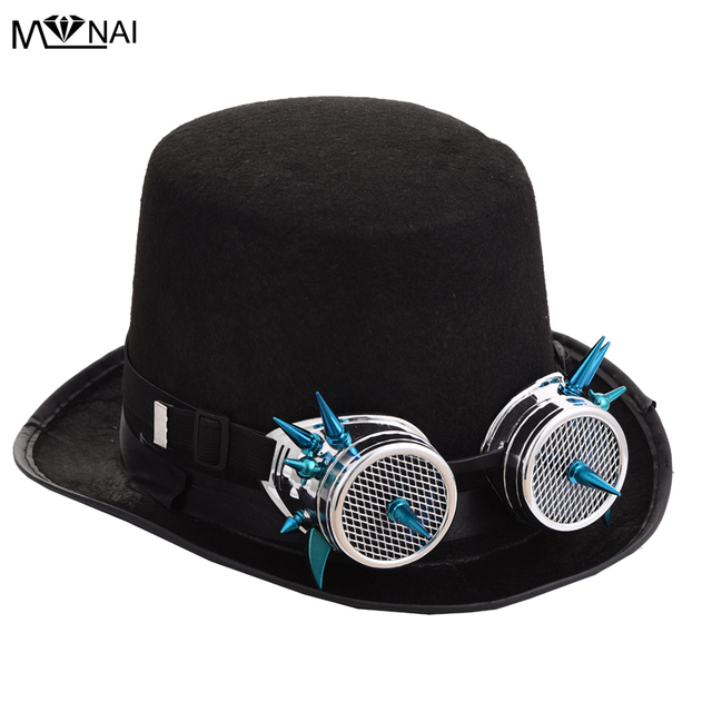 Black Fedora Steampunk Victorian Top Hat For Women Men Steam Punk Rivets  Glasses Hat Millinery Steampunk Red Spikes Goggles Hat 3fc917548af