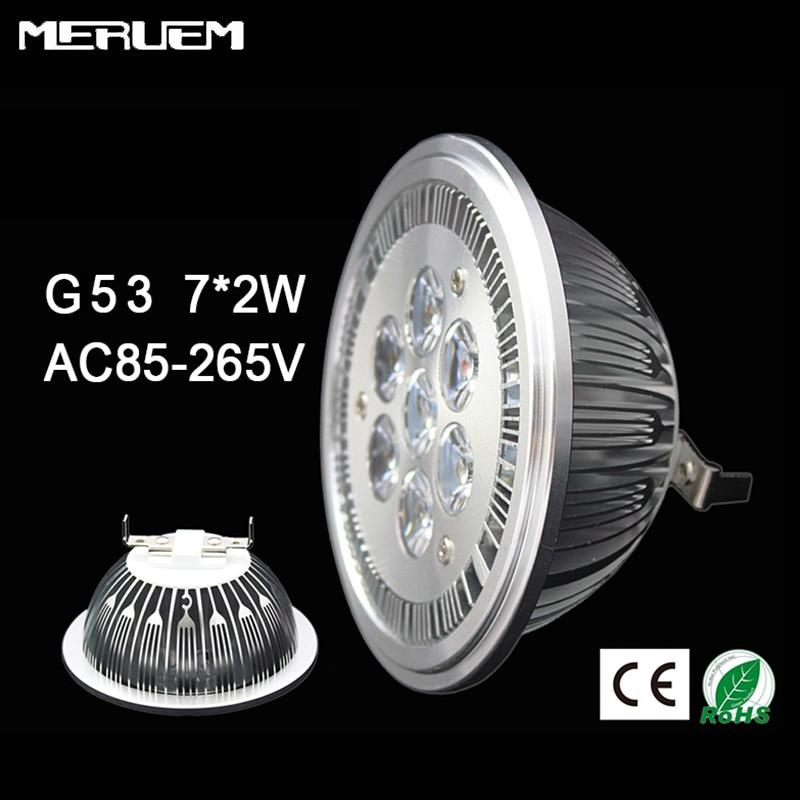 Free Shipping 10pcs lot 14W Spotlights G53 ES111 QR111 AR111 LED lamp AC 85 265V for