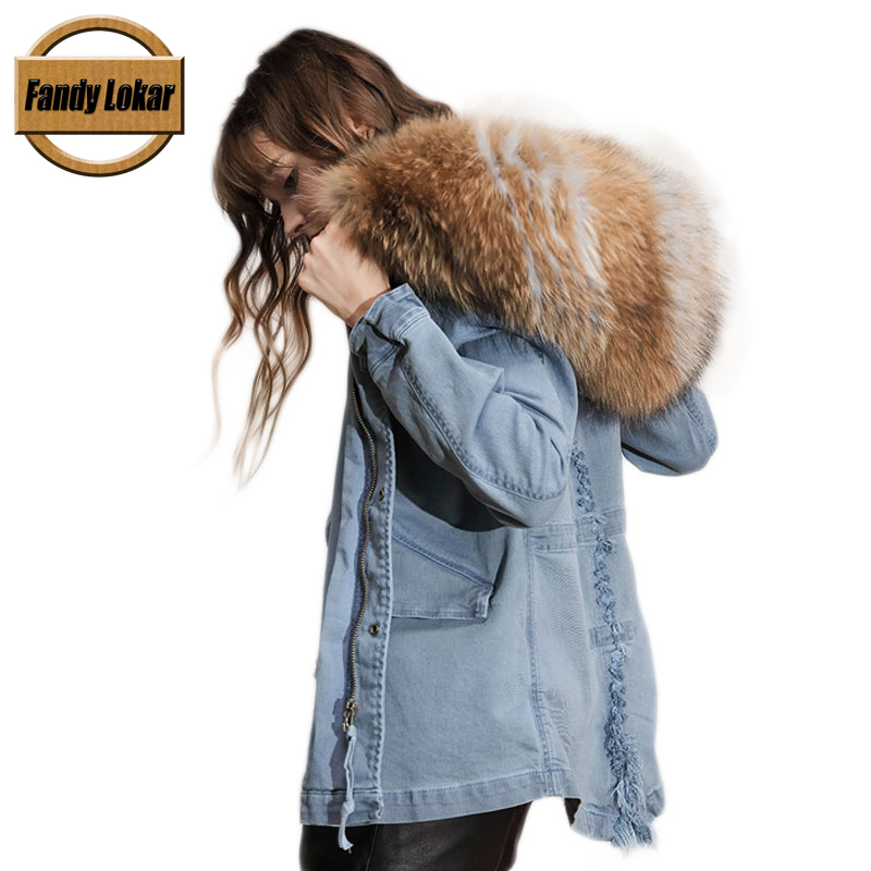 Blue Medium Length Raccoon Fur Collar Coat Women Winter Cotton Fur Liner Loose Warm Jacket With Hat Women Denim Parka Female 2016 rabbit hair in the cotton coat big raccoon fur collar jacket