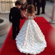 Свадебные Платья с цветочным узором для девочек, Роскошные Детские вечерние бальные платья для первого причастия, платья для девочек, vestidos daminha