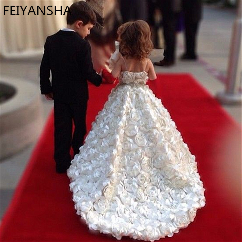 Flower Girl Dresses For Weddings 2021 Luxury Kids Evening Pageant Ball Gowns First Communion Dresses For Girls Vestidos Daminha Leather Bag