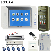 "JERUAN NEW 8"" TFT Video Door Phone Record Doorbell Intercom System kit Waterproof Access Password HD Mini Camera + 3 Monitor"