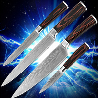 High Quality Kitchen Knives Four Piece Set Kitchenware Color Wood Handle 7Cr17stainless Steel Blade Damascus Stlye
