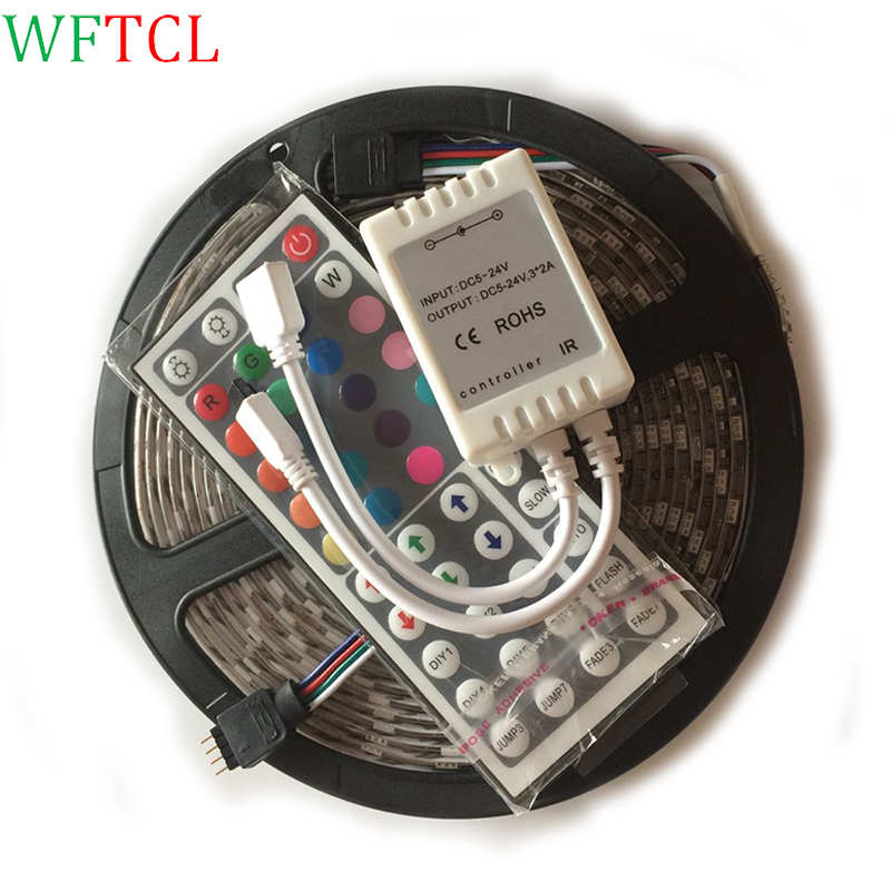 Cinta Tira Luz LED Navidad 5 Metros Multicolor + Control Remoto LED smd5050 flexible str ...