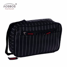 Aosbos New Men Multifunction Striped Waterproof Toiletry Bag Portable Travel Cosmetic Organizer Bag Men Zipper Wash Bag For Male