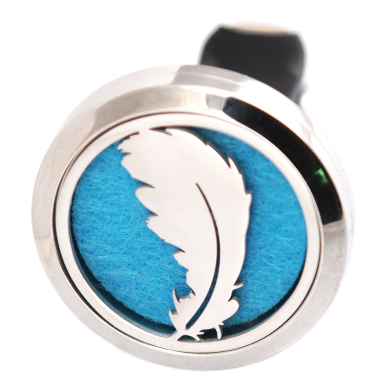10pcs Feather 30mm Diffuser 316 Stainless Steel Car Aroma Locket Essential Oil Car Diffuser Locket Free 50Pcs Felt Pads
