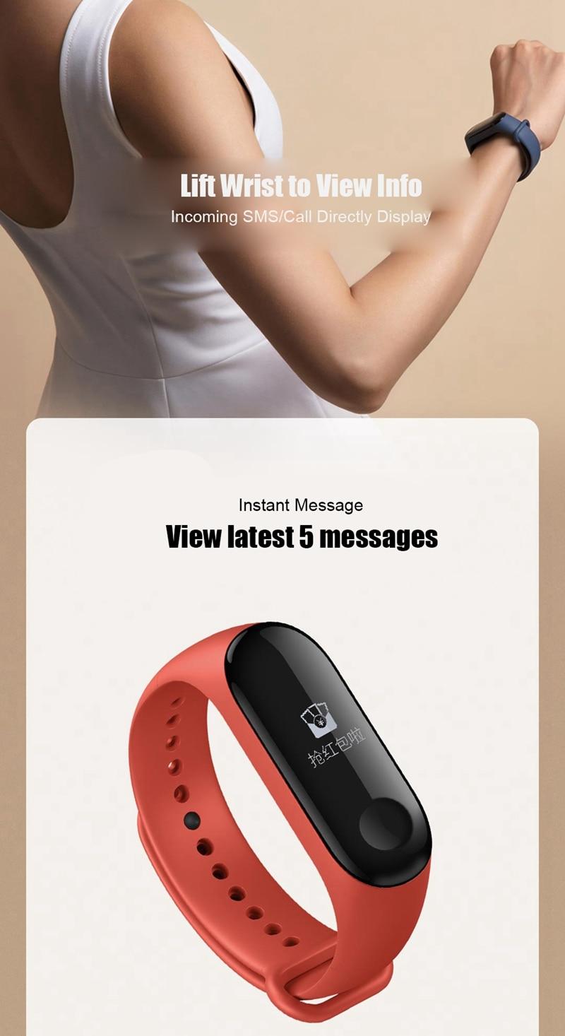 "Original Mi Band 3 Fitness Tracker Smart Bracelet 0.78""Color Screen 5ATM Waterproof Heart Rate Monitor Global Smartband In Stock 26"