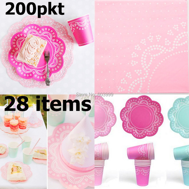200 PKT X 28 items Stylish partyware Flower Doily Lace Scallop Paper Plates Cups Napkins Cupcake  sc 1 st  AliExpress.com & 200 PKT X 28 items Stylish partyware Flower Doily Lace Scallop Paper ...
