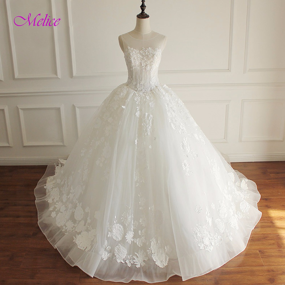 Melice Glamorous Appliques Court Train Princess Wedding Dress 2018 O-neck Beaded Lace Up Ball Gown Wedding Gown Robe De Mariage