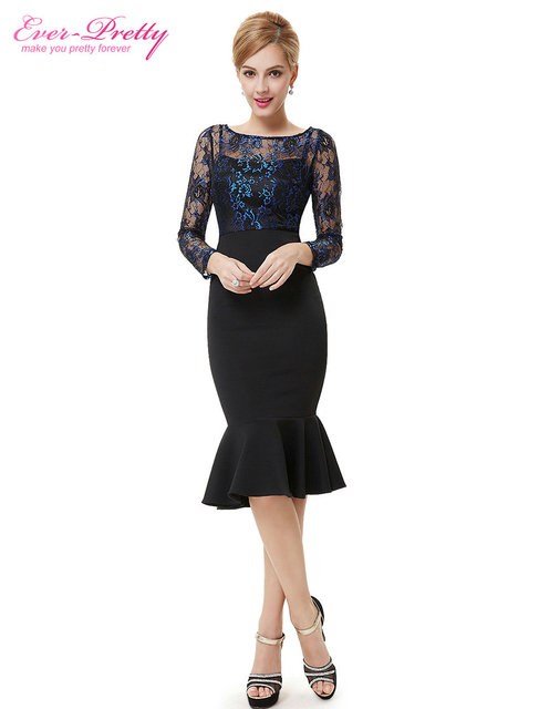 Cocktail Party Dresses Ever-Pretty HE08455 Unique Sexy Lacey Long Sleeve Black Cocktail Dress For Women 2018