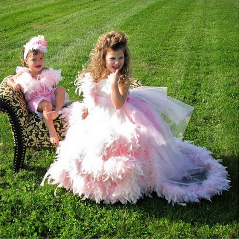Fashion Ball Gown Tulle Feather Bowknot   Flower     Girl     Dresses   for Weddings Kids Beauty Pageant   Dresses   with Train