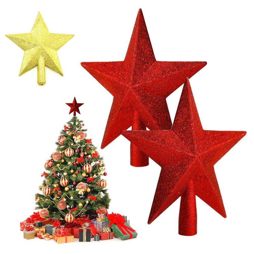 Gold star ornaments - Christmas Tree Topper Supplies Silver Gold Red Powder Christmas Toppers Star Tree Ornaments Xmas A5