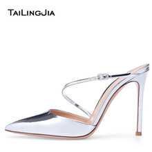цены Pointed toe High Heel Slingback Mules Sliver Patent Dress Shoes Women Wedding Heels Ladies Stiletto Sandals Summer Shoes 2018
