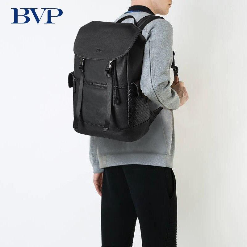 BVP العلامة التجارية جلد طبيعي على ظهره الرجال للماء الذكور السفر حقائب كتف 15.6 بوصة محمول الظهر 3D تجديل النقش J50-في حقائب الظهر من حقائب وأمتعة على  مجموعة 1