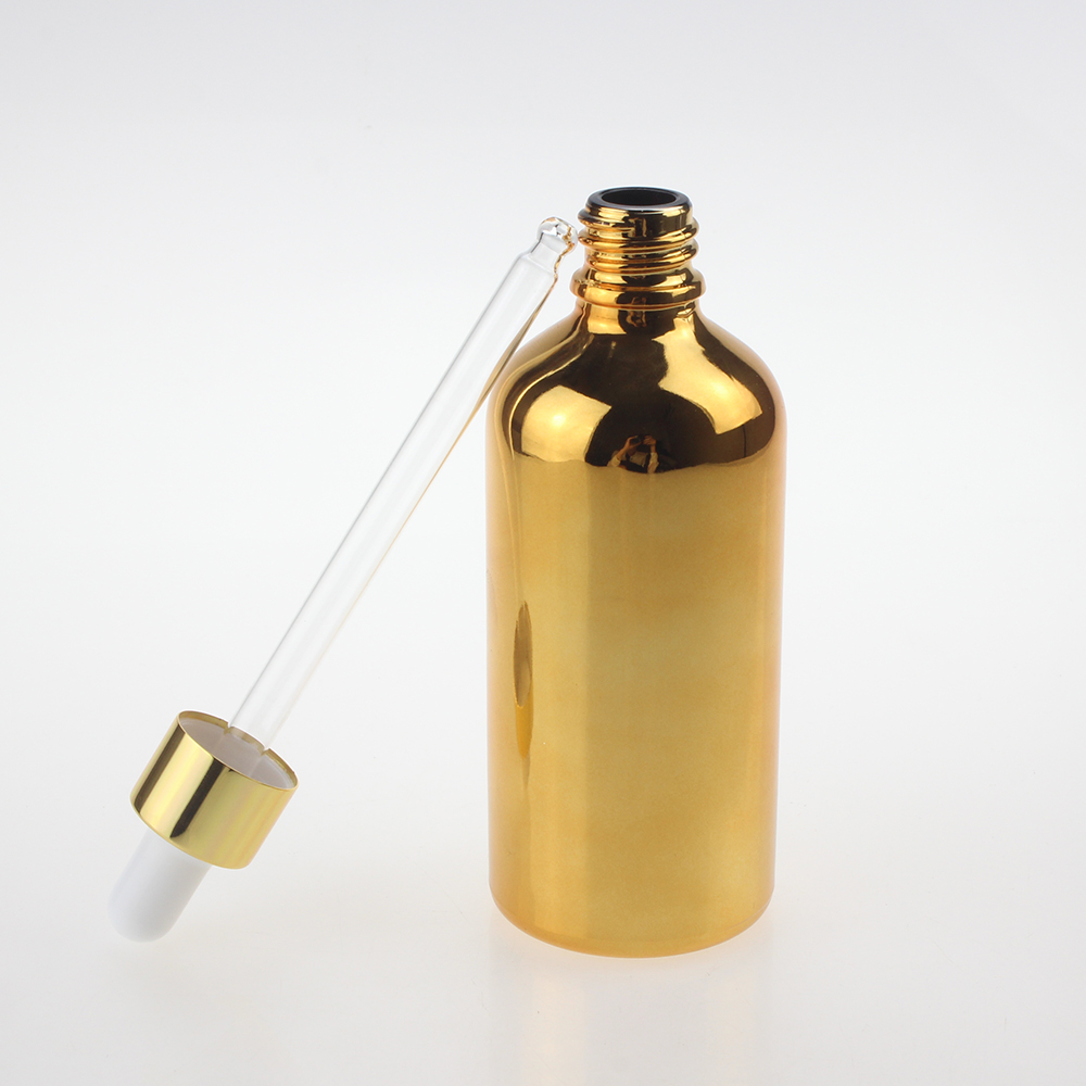 wholesale glass pipette and white rubber for oil bottle silver and gold 100ml glass dropper bottle in Refillable Bottles from Beauty Health