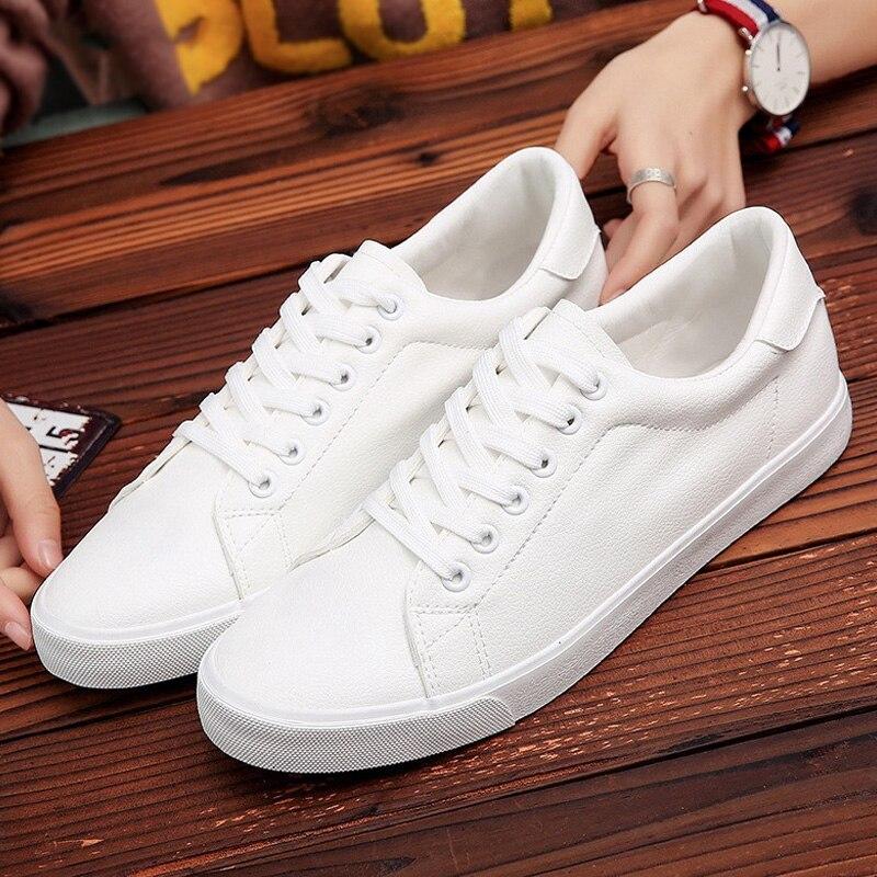 Homens Vulcanize Sapatos Da Moda Novos Homens Sapatos Slip-on Sneakers Homens Estudante grossas sneakers Tênis Branco Conforto Lace- up Formadores