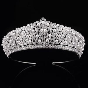 Image 2 - 王冠ヘッドバンドファッショナブルな真珠のデザイン結婚式のヘアアクセサリーの高級ジュエリー aaa + ジルコン BC4955 コロナプリンセサ