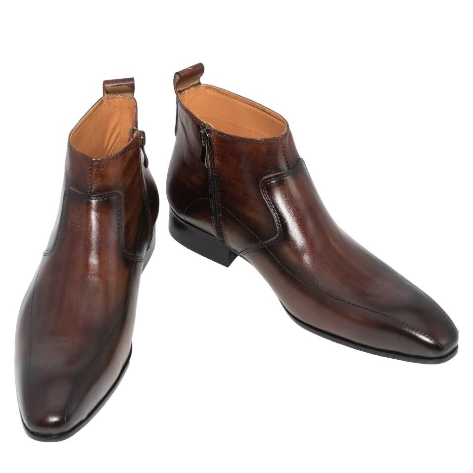 남자 드레스 가죽 부츠 기본 수제 커피 컬러 패션 럭셔리 브랜드 레이스 업 지퍼 발목 남자의 지적 발가락 드레스 oxfords 신발-에서기본 부츠부터 신발 의  그룹 2