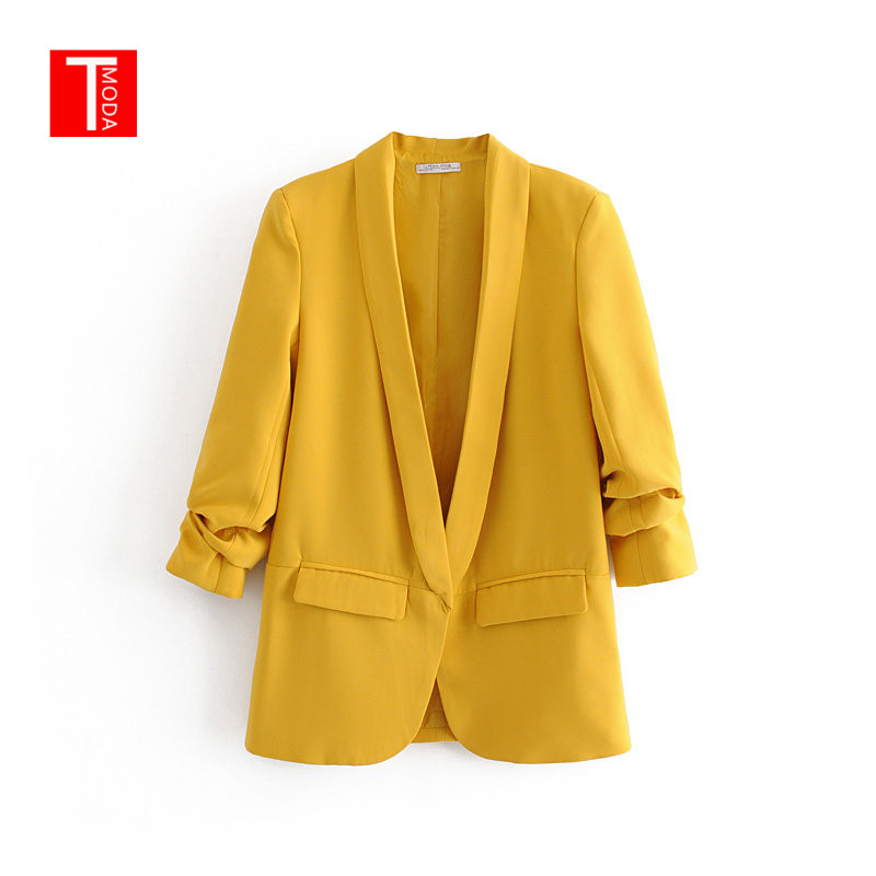 Yellow Shawl Collar Elegant Office Ladies Workwear Blazer Long Sleeve Regular Fit Minimalist 2019 Women Autumn Blazer 3 Colors
