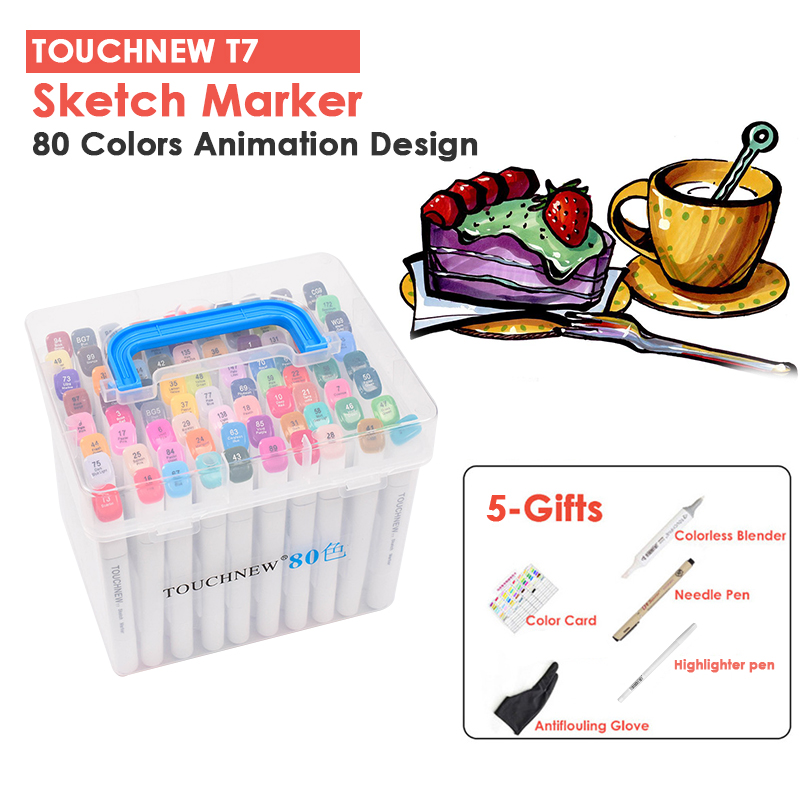 TOUCHNEW 7th 80 Colors Animation Design Art Markers Sketch Marker Pens Set Double Headed Anime Art