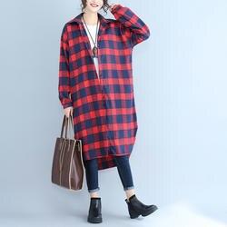 Повседневное Для женщин рубашки свободные Plaidfore короткие длинный тонкий после 45 блузка рубашка красные, черные темно-синий 8001