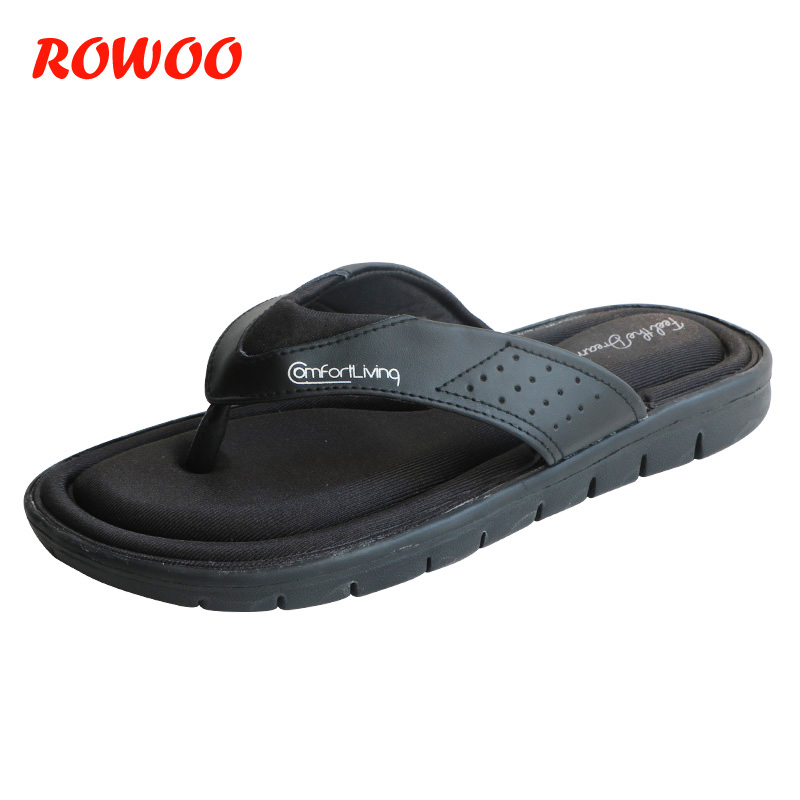 99972a59926b51 2019 Summer Fashion Mens Flip Flops Anti-slip Black Male Sandals  Comfortable Classic Beach Slippers