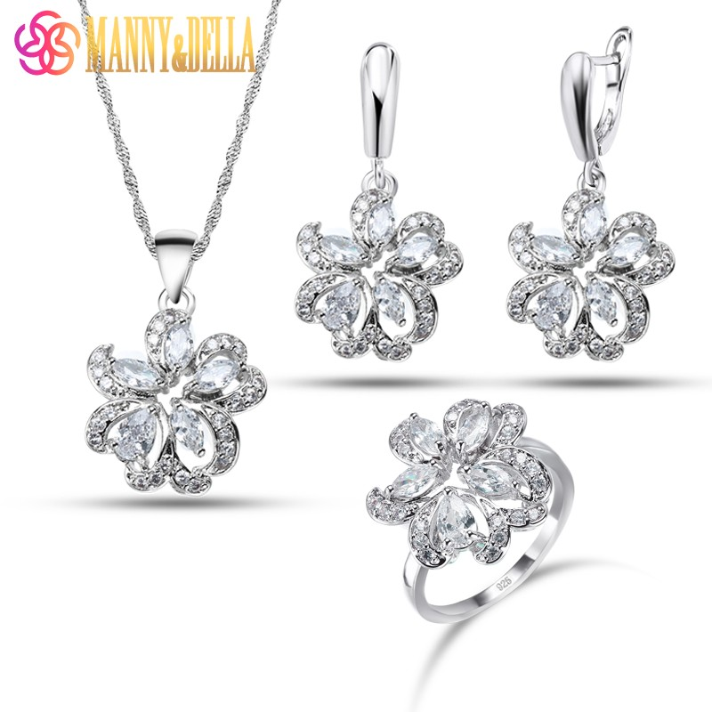 Wedding 6-Color Flower Jewelry Sets Earrings Pendant Necklace Ring White Zircon 925 Silver Women Trendy Decoration Sets
