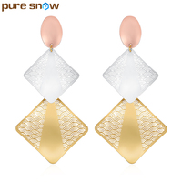 Exaggerated Retro Square Shape Big Earrings Gold Plated Hollow Flower Long Earrings For Women Jewelry Accessories