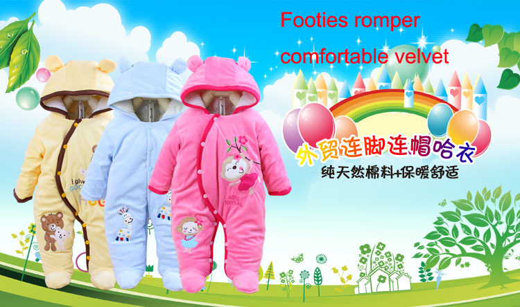 Newborn Cute Baby Romper Winter baby boys girls Clothes Sets Warm Cotton Padded Fleece Jumpsuit Infant Long Sleeve Clothing newborn infant baby boy girl clothing cute hooded clothes romper long sleeve striped jumpsuit baby boys outfit