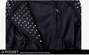 Image 5 - Casaco Feminino Kim Fashion Leather Jacket Spikes Stars Slim Bi metal Silver Rivet metallic jacket Pu Leather Coats Women