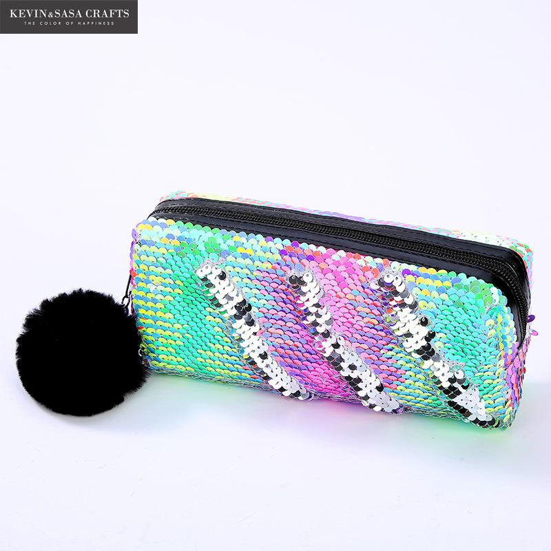 11Color Option Reversible Sequin Pencil Case for Girls School Supplies Super Big <font><b>Bts</b></font> Stationery Gift Magic Pencil Box Pencilcase image