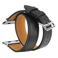 V MORO Genuine Leather Double Tour Watch Strap Wrist Band Replacement Clasp For Apple Watch 38