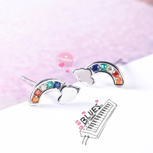 Rainbow Design with Colorful CZ Stud Earrings Jewelry
