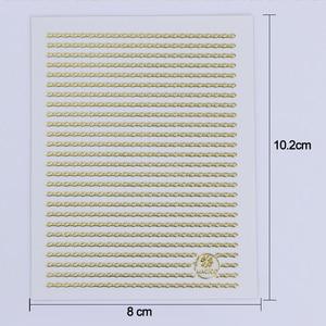 Image 5 - 1 arkusz złoto srebrne linie taśmy 3D naklejka do paznokci wielkoformatowe metalowe końcówki naklejki samoprzylepne naklejki do paznokci dekoracje artystyczne