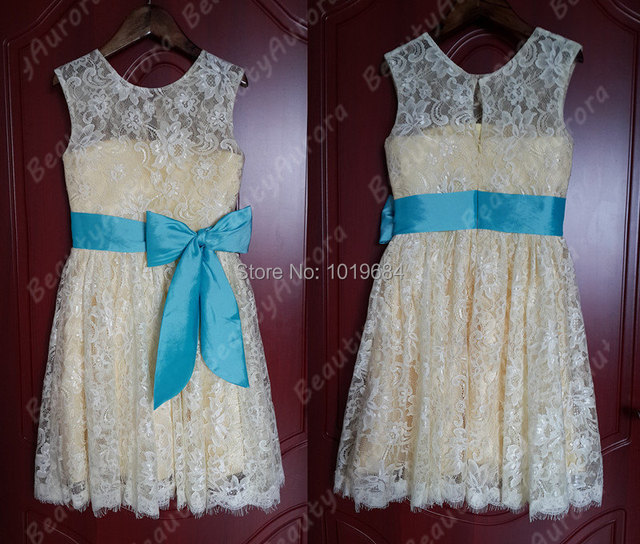 4f9b7335236 Ivory Lace Flower Girl Dress Yellow Liner Blue Sash Country Wedding Baby  Girls Dress Rustic Baby Girl Dress