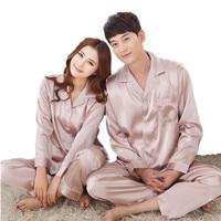 Autumn Mens Silk Pajama Sets Women S Satin Silk Sleepwear Solid Color Long Sleeves Couple Loungewear