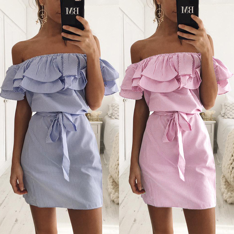 2017 New Summer Dresses Fashion Women Cute Casual Sexy Slash Neck Off Shoulder Stripe Ruffles Decoration
